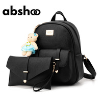 Cute Women Leather Backpack Fur Bear Decorated Small Backpacks For Girls 2 Pieces Bag Set Shoulder