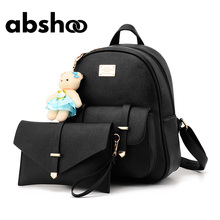 Cute Women Leather Backpack Candy Color Girls  Bags Chic Fashion Backpacks Clutch Purse Clutch Purse Fur Bear Decorated