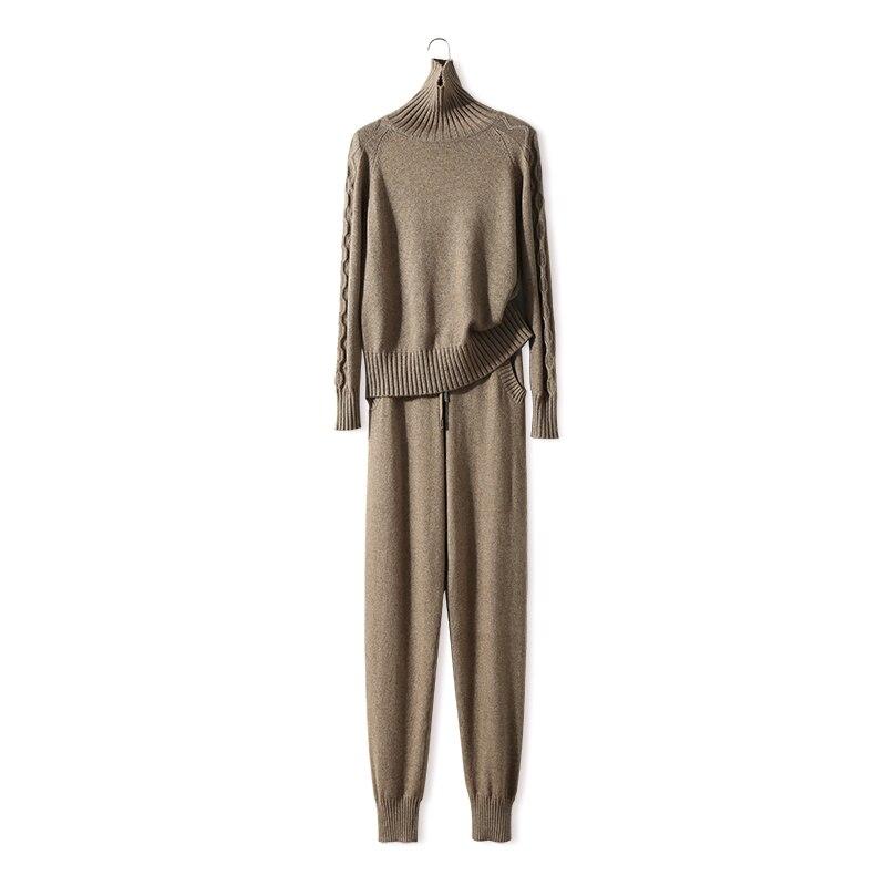 Survêtements Vente Nouvelle Laine 2018 Printemps Femmes Tricoté Costume Chaud Cachemire Mode Pull Col En Tricot Pantalon Deux-pièce Femelle