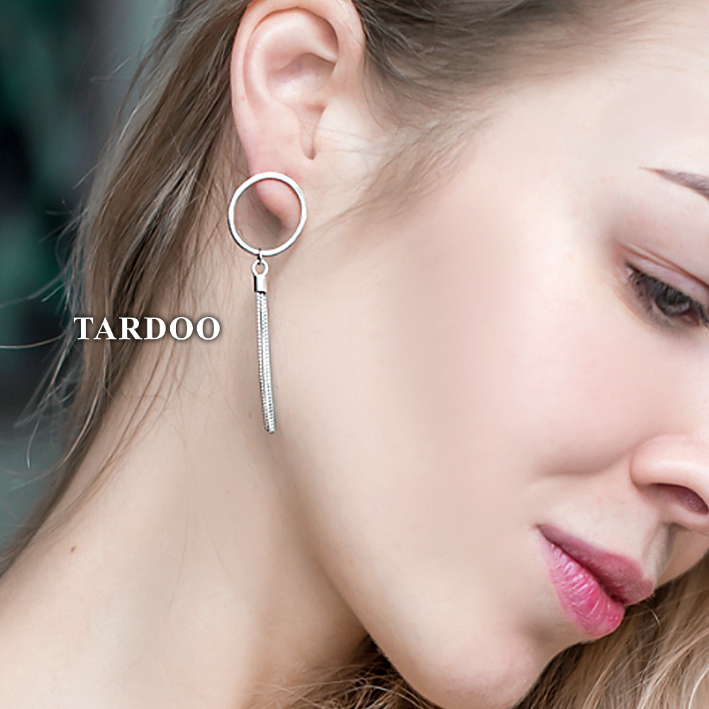 Tardoo Tassel Asymmetry Drop Earrings 925 Sterling Silver Simple Round Earring Stylish Gifts For Women Geometric Fine Jewelry pair of stylish red tassel drop earrings for women