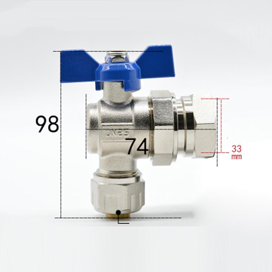 1 bspp Weiblich Fit 20/25mm Id/od Pex Rohr Vernickelt Messing Winkel-kugelhahn Mit Blau Griff Für Wasser Mainfold Sanitär