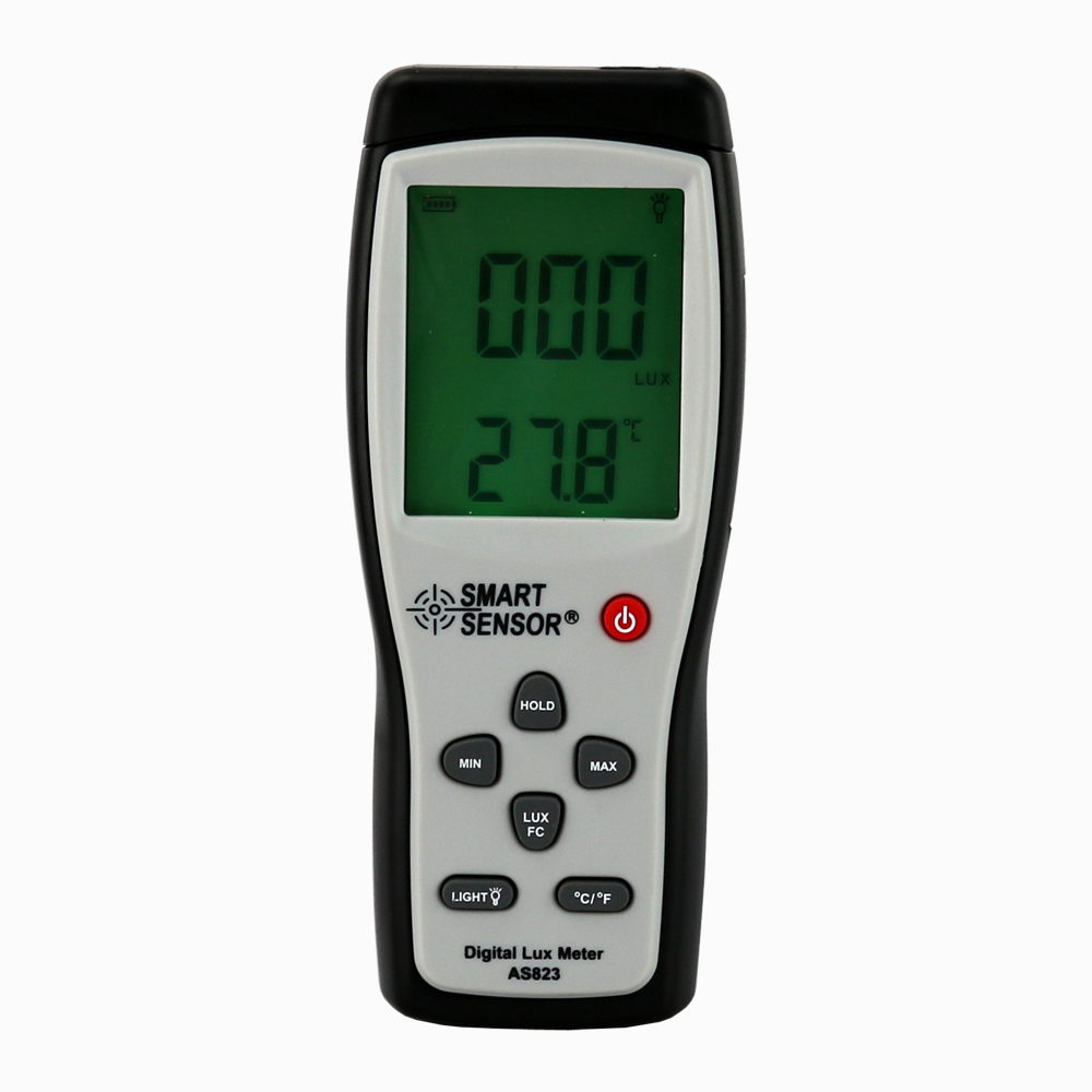 AS823 Digital lux illuminance flow meter light 1~200.000lux Multifunctional apparatus of illuminance meter 2 1 lcd portable 3 mode digital illuminance light meter 100000lux 1lux 1 x 6f22