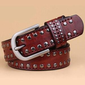 Image 2 - עור אמיתי מסמרת חגורות מעצב באיכות גבוהה נשים חגורות מותג חגורת המותניים נשים מקרית פין אבזם חגורות נשי רצועה