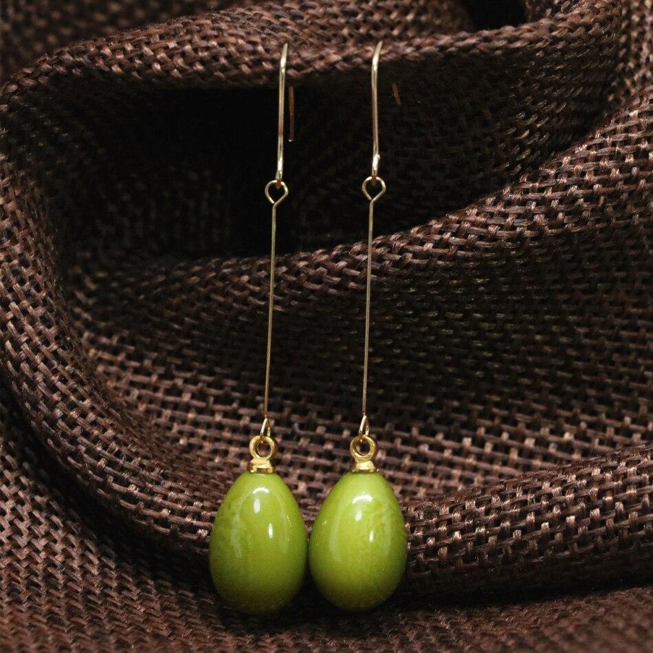 Free Shipping Large Eardrop Long Drop Earrings Green