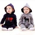 Bebé ropa de primavera párrafo viento Británico del arnés del bebé con capucha del mono de escalada ropa de bebé