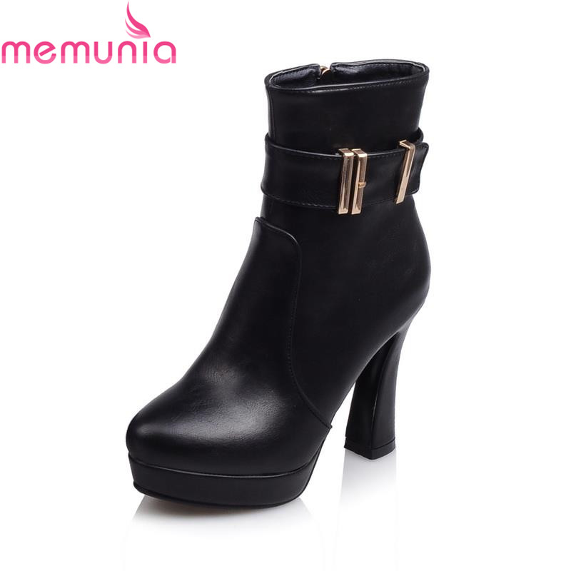 MEMUNIA Square heel round toe Western zip-up ankle boots for women hot sale patent pu leather platform autumn spring women boot hot sale high quality 2016 fashion ankle boots for women square heel black lace up round toe genuine leather boots