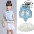 Chica Set 2016 Marca de Ropa para Niñas Establece Niños Enfant Hueco Camisa de Encaje + Faldas de Mezclilla Niñas Ropa de Verano Niños de La Manera traje