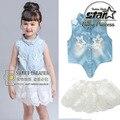 Menina Set 2016 Conjuntos de Roupas de Marca Meninas Crianças Enfant Denim Oco Shirt + Saias de Renda Meninas Roupa do Verão Moda Infantil terno