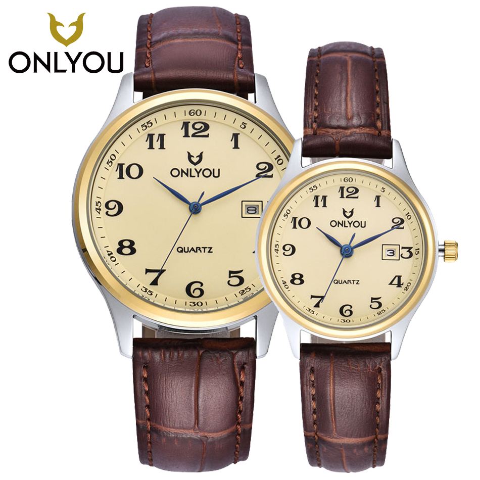 ONLYOU Fashion Men Quartz Watch High Quality Black/Brown Leather Watchband Woman Wristwatches Analog Sports Couple Watches Clock