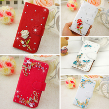 """Smile Case for Samsung Galaxy A3 2017 A320 A320F 4.7"""" Bags High quality PU leather Luxury White Pink Blue Rhinestone Cases"""