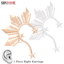 Lovely Gold Star Ear Clip on Earrings for Women Accessories Hyperbole Big Cuff Earring without Piercing Fashion Jewelry Gift