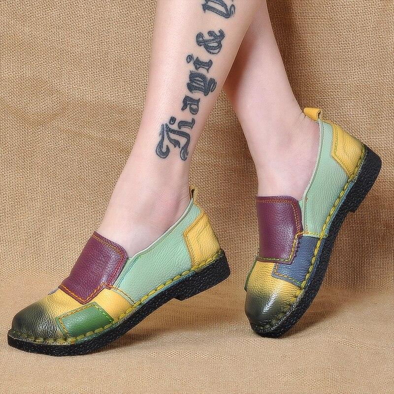 amarillo Block Pisos De Cuero Zapatos Vendimia Antideslizante Mujeres Auténtico gris Mocasines Femeninos A Color Mano Casual Suave púrpura Hecho Negro La qWBEwnR6xa