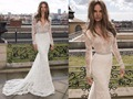 На заказ Кружева Русалка Свадебные Платья 2015 длинные рукава Высокого Качества всего тела вышивка V шеи свадебные платья с бисером