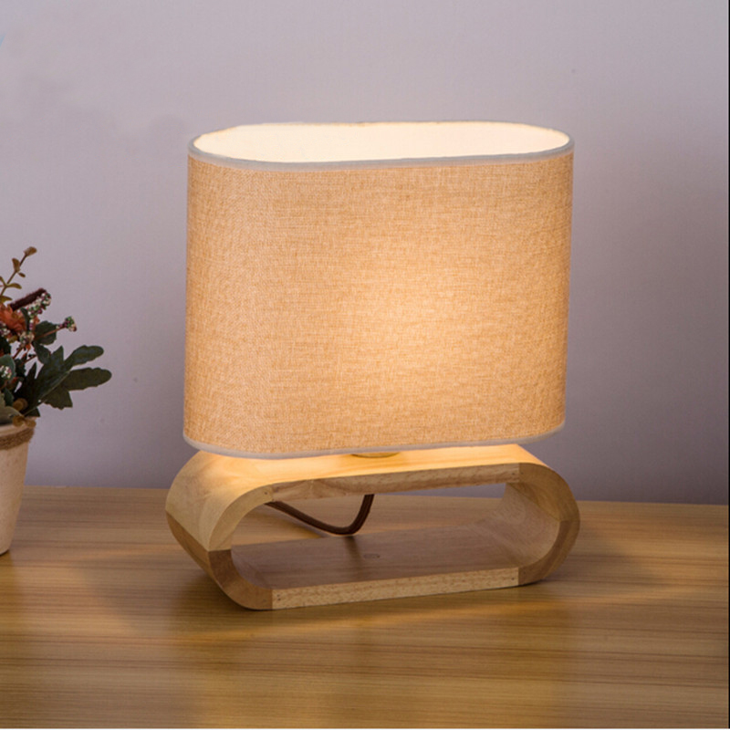 Modern Table Lamp Wood Base Cloth Lampshade Table Lamps For Living Room  Bedroom Bedside Lamp Desk