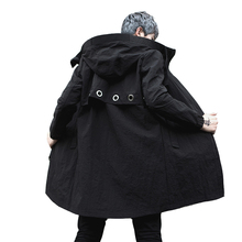 Осень-зима, мужской длинный плащ, куртка с капюшоном, для ночного клуба, певица, сценический костюм, мужской Повседневный плащ, хип-хоп пальто в стиле панк