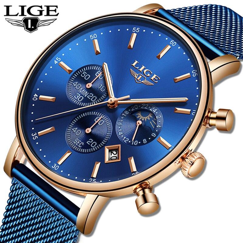 LIGE Watches Mens Top Brand Luxury Blue Casual Mesh Belt Watch Fashion Sport Watch Men Waterproof Quartz Clock Relogio Masculino