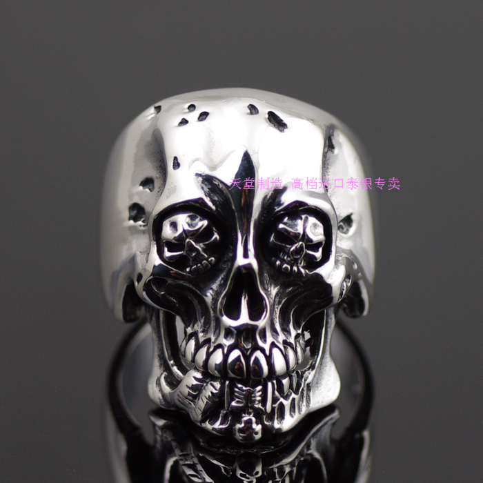 Thailand imports 925 sterling silver, Thai silver ring skeleton Ghoul thailand imports skull blood new skeleton silver ring