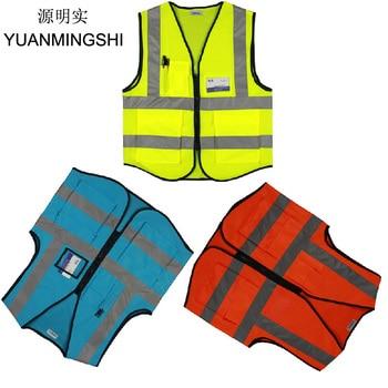 YUANMINGSHI Car Motorcycle Reflective Safety Clothing High Visibility Safety Vest Warning Coat Reflect Stripes Tops Jacket