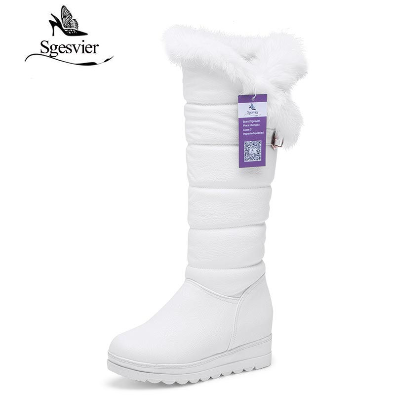 SGESVIER Women Shoes Winter Comfortable Warm Plush Boots Simple Style Mid-Calf Boots Sweet Rabbit Hair Shoes Size 35-42 OX121 rabbit hair lady autumn winter new weaving small pineapple fur hat in winter to keep warm very nice and warm comfortable