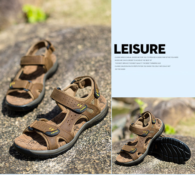 Hot Sale New Fashion Summer Leisure Beach Men Shoes High Quality Leather Sandals The Big Yards Men\`s Sandals Size 38-45 (25)
