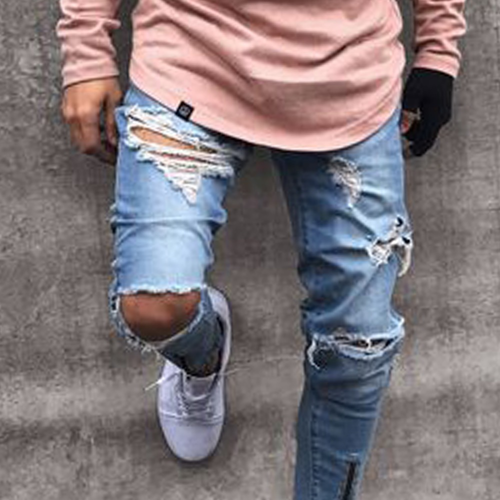 Men Clothes Hole Ripped Distressed Casual Jeans Fashion Hip Hop Male Denim Zipper Skinny Trousers For Mens Pencil Clothing