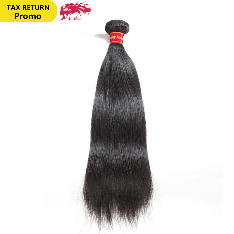 Brasilian Straight Hair Weave 1/3/4 Pcs Natural Black Remy Hair - Mänskligt hår (svart)