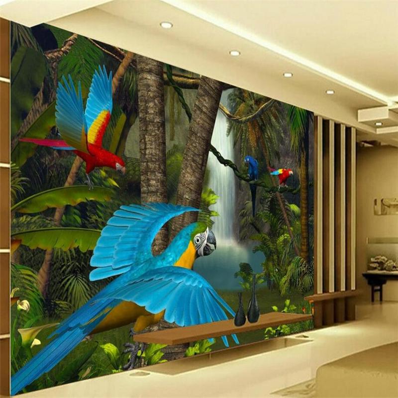 beibehang papel pintado decorativo casero loro cascada del bosque primitivo de imgenes de papel tapiz