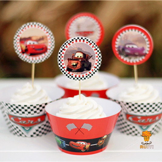 24pcs cars theme cupcake wrappers cases kids birthday for Baby footprints cake decoration