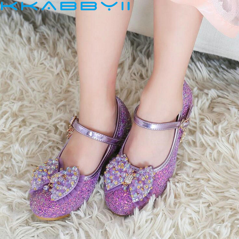 Elegant Girls Sandals Bead Bow Fashion Princess Shoes Children Girls Dance Halloween Christmas Party Shoes Size 26-37