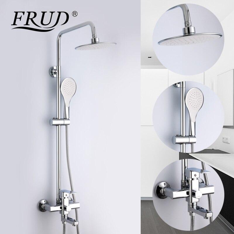 Frud 1 Set baño ducha de lluvia grifo mezclador grifo con mano pulverizador montado en la pared de ducha de baño sistema establece sola manija r24131