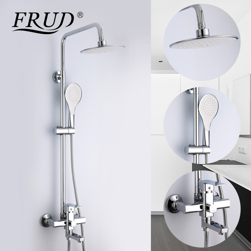 Frud 1Set Bathroom Rainfall Shower Faucet Mixer Tap With Hand Sprayer Wall Mounted Bath Shower system Sets Single Handle R24131 chrome polished rainfall solid brass shower bath thermostatic shower faucet set mixer tap with double hand sprayer wall mounted