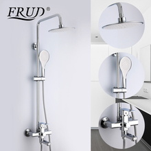 Frud 1Set Bathroom Rainfall Shower Faucet Mixer Tap With Hand Sprayer Wall Mounted Bath Shower system Sets Single Handle R24131 wholesale and retail modern golden bathroom tub faucet wall mounted mixer tap w telephone style hand shower sprayer