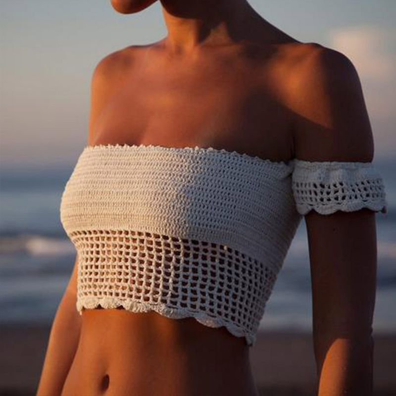 Sexy Knitted Crochet White Crop Tops Bikini Beachwear 90's Girls Lace Up Off Shoulder Bikini Bra Tank Top Cropped women crochet lace bralette knit bra boho beach bikini halter cami tank crop top