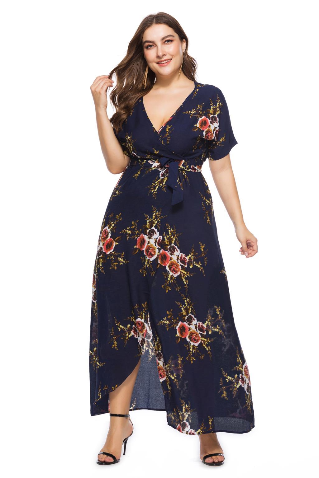 4490fb76919 ... платье плюс размер длинное платье цветочный Лето для женщин 2018 глубокий  v-образный вырез с коротким рукавом Пояса принт Империя сексуальное платье