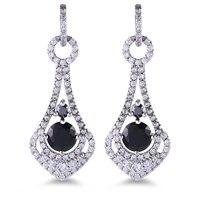 Leo Bon Thời Trang Zircon White Gold Victoria Phong Cách Dangle Xỏ Drop Đen Earrings đối với Phụ N