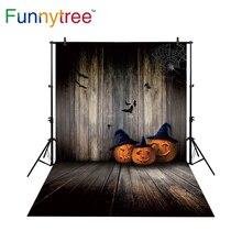 funnytree backdrop for photo studio halloween vintage wood wall pumpkins bat