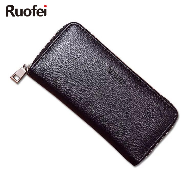 New RUO FEI luxury male Leather Purse Men's Clutch Wallets Handy Bags Business Wallets Men Black Brown Dollar Price 2016 luxury male 100% original leather purse men s clutch wallets handy bags business carteras mujer wallets men dollar price