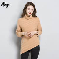 2018 New Designs 100% Pure Cashmere Sweater Female Jumpers Striped Fashion Slim Knitted Autumn Korean Style Turtleneck Sweater