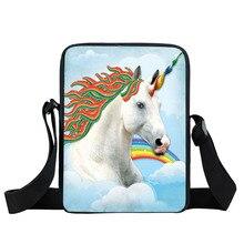 Cartoon Unicorn Druck Umhängetasche Tier Pferd Mini Crossbody Taschen Frauen Handtasche Kinder Geschenk Umhängetasche Kinder Buch Taschen