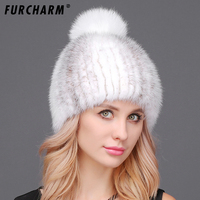 Good Quality Thick Mink Fur Women's Hats with Fox Fur Pompons Beanie Women's Winter Fur Hat 2017 Casual Knitted Cap for Girls