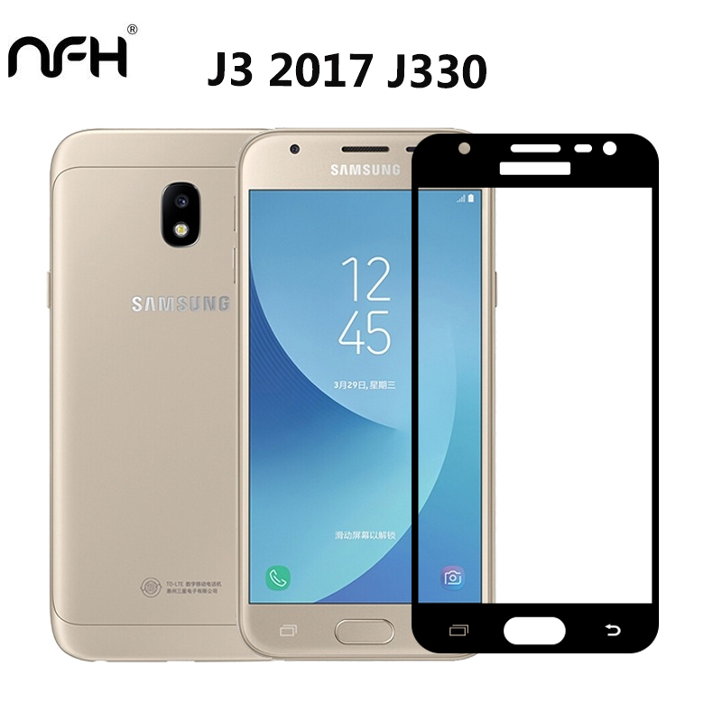 Galleria fotografica NFH For Samsung Galaxy J3 2017 J330F Screen Protective Glass Temepred Full Screen Cover Protector Glass on J330W Screen Film