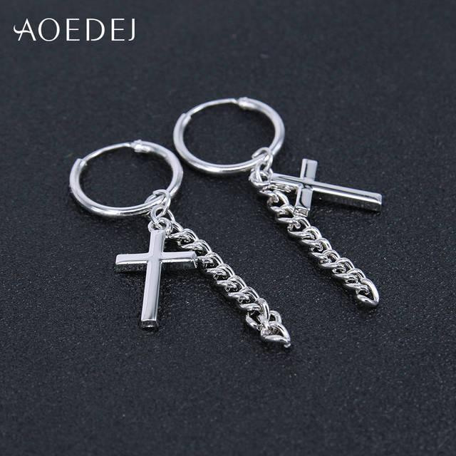 Купить маленькие серьги кольца aoedej с крестом для мужчин и женщин картинки