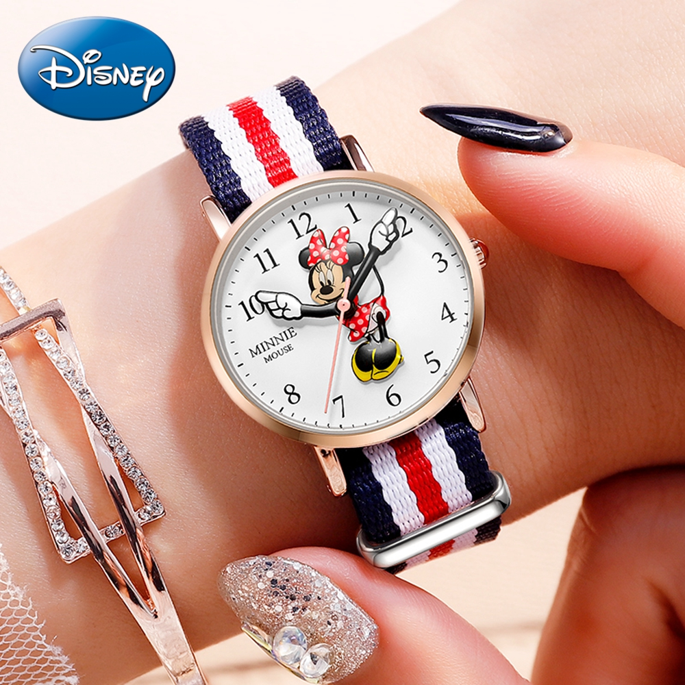 Minnie Mouse Girls Nylon Leather Strap Japan Quartz Waterproof Wrist Watches Top Brand Luxury Disney Lady Cute Best Gift Watch