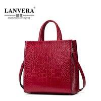 Women Tote Bags High Quality Genuine Leather Handbags Women Messenger Bag Brands Crocodile Pattern Crossbody Bags