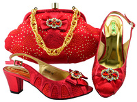 Nigeria shoes and matchings bag african aso ebi sandal shoes and clutches bag in red color with size 38 to 43 low heel SB8162 7