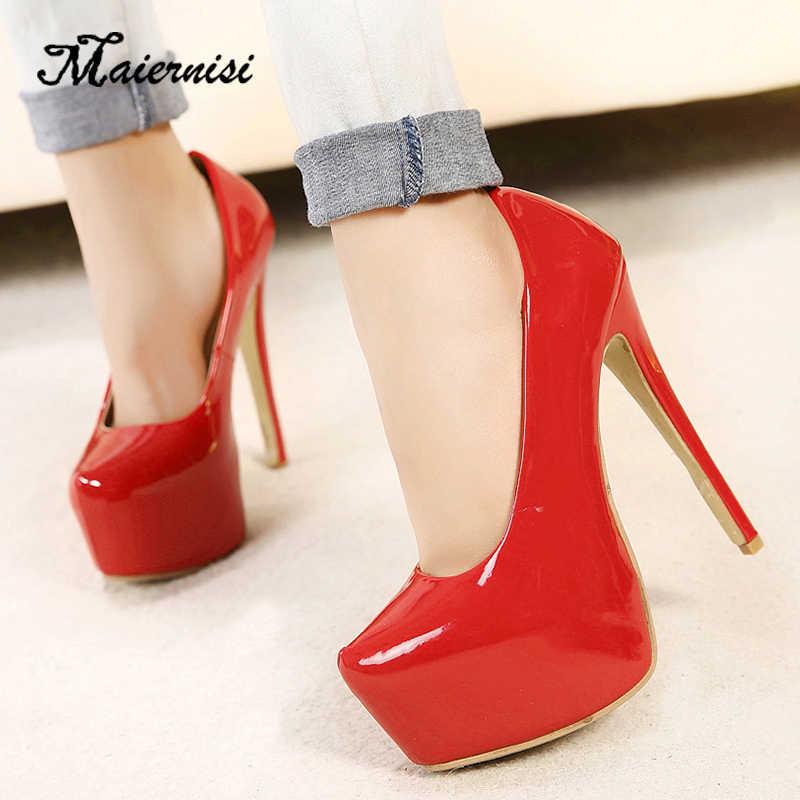 7b50541518b1 MAIERNISI Big Size 35-44 brand women Super High Heels 15cm shoes platform  shoes pumps