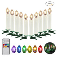 10pcs Christmas LED Candles Party Wedding Home Xmas Navidad Tree Decoration Wireless Remote Control Battery Operated