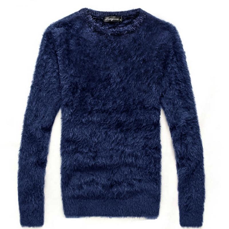 Camisola dos homens outono e inverno mohair grosso longo-manga O Pescoço malha pulôver/moda quente magro grosso agasalho quente do sexo masculino