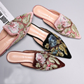 Star Style Shoes Vintage Embroidery Slippers Luxury Velvet Embroidered Pointed Toe Flat Shoes Half-slippers Female Flats Sandals