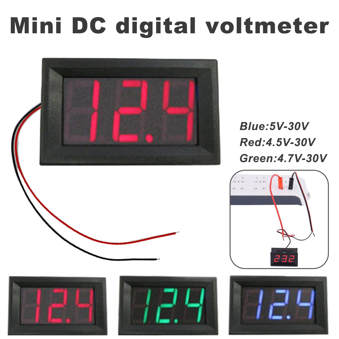 DC 4.5V To 30V Mini Digital Voltmeter Digital Voltmeter Voltage Panel Meter Red/Blue/Green For Electromobile Motorcycle Car
